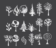 Ensemble de la ligne tirée par la main PE de croquis de griffonnage d'illustration d'arbre Photo stock