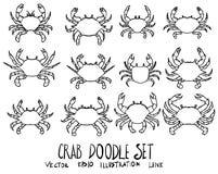 Ensemble de la ligne tirée par la main PE de croquis de griffonnage d'illustration de crabe de vecteur Photographie stock