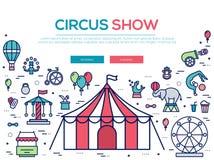 Ensemble de la meilleure qualité de collection d'icônes d'ensemble de cirque de qualité Paquet linéaire de symbole de festival Ca Photographie stock