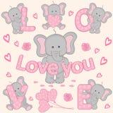 Ensemble de la partie mignonne d'éléphant de valentine Photographie stock