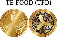 Ensemble de la pièce de monnaie d'or physique TE-FOOD TFD Photographie stock
