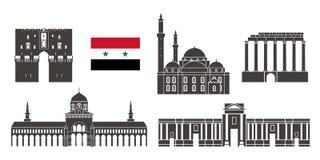Ensemble de la Syrie Architecture d'isolement de la Syrie sur le fond blanc Photographie stock