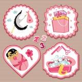 Ensemble de label avec des articles pour le bébé nouveau-né asiatique Image stock