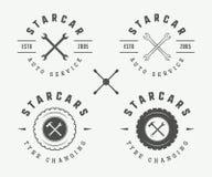 Ensemble de label, d'emblème et de logo de mécanicien de vintage illustration libre de droits