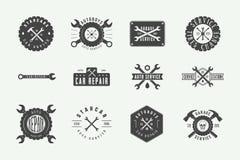 Ensemble de label, d'emblème, d'insigne et de logo de mécanicien de vintage illustration libre de droits