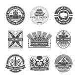 Ensemble de label d'isolement par vintage de boutique de boulangerie Images stock