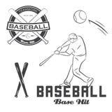 Ensemble de label, de batte et de boule de base-ball de vintage Images stock