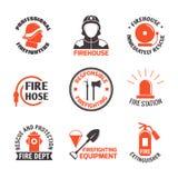 Ensemble de label de lutte contre l'incendie illustration libre de droits
