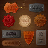 Ensemble de label en cuir illustration stock