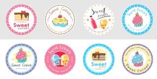 Ensemble de label et de logo doux mignons d'insigne de boulangerie illustration stock
