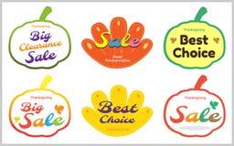 Ensemble de label heureux d'étiquette de vente de thanksgiving stic Image stock