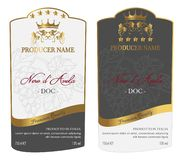 Ensemble de label moderne de vin de vecteur Photo stock
