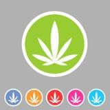 Ensemble de label plat de logo de symbole de signe de Web d'icône de cannabis de marijuana illustration stock