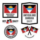 Ensemble de label de qualité de l'Antigua-et-Barbuda pour des marchandises Illustration Stock