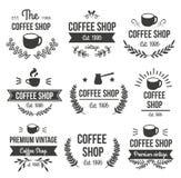 Ensemble de label tiré par la main de café illustration libre de droits