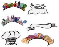 Ensemble de label végétal de cuisine tirée par la main Illustration Stock