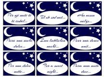 Ensemble de labels avec des mots pendant une nuit douce Photographie stock libre de droits