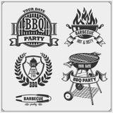 Ensemble de labels de BBQ et de gril Emblèmes de barbecue, insignes et éléments de conception illustration de vecteur