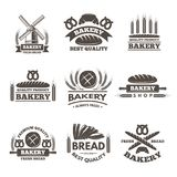 Ensemble de labels de boulangerie de vintage Calibre de logo dans le style de vecteur illustration de vecteur