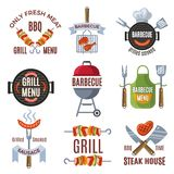 Ensemble de labels coloré pour la partie de BBQ Nourriture grillée Photo stock