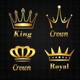 Ensemble de labels d'or de couronne Photo stock