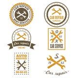 Ensemble de labels, d'emblèmes et de logo de mécanicien de vintage illustration libre de droits