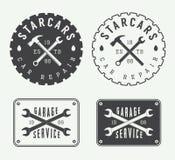 Ensemble de labels, d'emblèmes et de logo de mécanicien de vintage illustration stock
