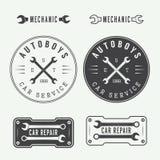 Ensemble de labels, d'emblèmes et de logo de mécanicien de vintage Illustr de vecteur illustration libre de droits