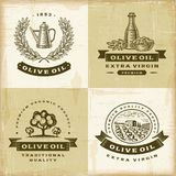 Ensemble de labels d'huile d'olive de vintage Image libre de droits