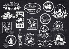 Ensemble de labels, d'insignes et de logos d'huile d'olive pour Photo stock