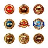 Ensemble de labels d'or de la bonne année 2018 avec le ruban Images libres de droits