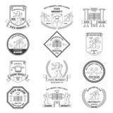 Ensemble de labels d'université illustration de vecteur