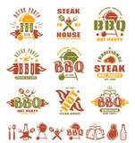 Ensemble de labels de barbecue, d'insignes, et d'éléments de conception Photographie stock libre de droits