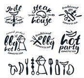 Ensemble de labels de barbecue, d'insignes, et d'éléments de conception Photographie stock