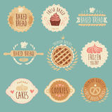 Ensemble de labels de boulangerie, pain, illustration de vintage Photo libre de droits