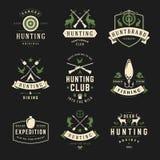 Ensemble de labels de chasse et de pêche, insignes, logos Photos libres de droits