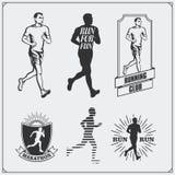 Ensemble de labels de club, d'emblèmes et d'éléments pulsants et fonctionnants de conception Silhouettes des coureurs Image libre de droits
