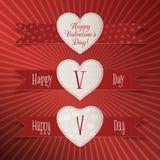 Ensemble de labels de coeur de papier de jour de valentines Photo stock