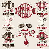 ensemble de labels de concept de BBQ Images libres de droits