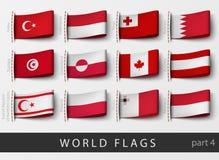 Ensemble de labels de drapeau de tous les pays illustration libre de droits