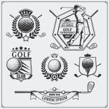 Ensemble de labels de golf de vintage, d'insignes, d'emblèmes et d'éléments de conception Image libre de droits
