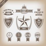 Ensemble de labels de la meilleure qualité de qualité de cru Images stock