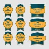 Ensemble de labels de la meilleure qualité de qualité de cru Photographie stock