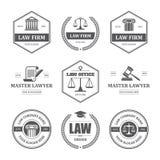 Ensemble de labels de loi illustration stock