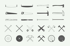 Ensemble de labels de menuiserie et de mécanicien de vintage, emblèmes, logo illustration stock