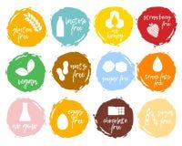 Ensemble de labels de nourriture - allergènes, produits gratuits de GMO Intolera de nourriture image libre de droits