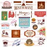 Ensemble de labels de nourriture et de boissons, d'icônes pour le restaurant et de café illustration de vecteur