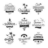 Ensemble de labels de plage sur le blanc Photo stock