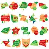 Ensemble de labels de remise de vente, étiquettes, emblèmes Collection de Web d'autocollants et d'insignes à vendre Images stock