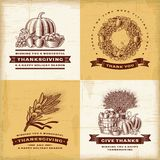 Ensemble de labels de thanksgiving de vintage illustration stock